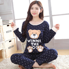 Women Long Sleeve Pajamas Female Warm Cartoon Animals Nightgown Set Plus Size Clothes For Home