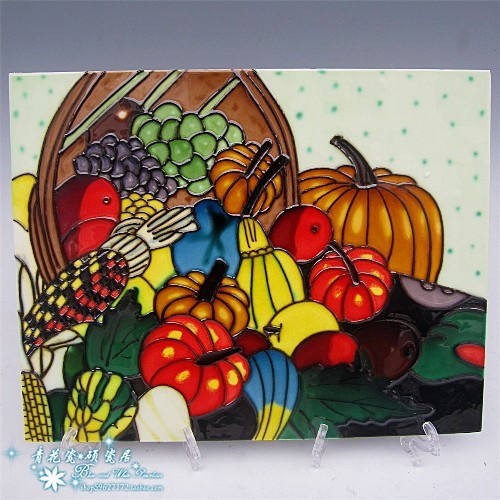 Ceramic painting mural picture frame porcelain painting home fruit ...