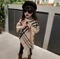 2017 meninas novas xadrez borlas poncho xaile capes ocidental xadrez cute baby clothing