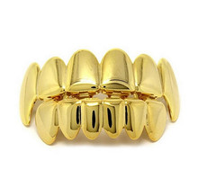 Gold Silver Color HIP HOP Teeth Grillz 6 Top Teeth & 6 Bottom Tooth Plain Groll Set With Silicone Teeth Slugs Thin Gift for Men(China)