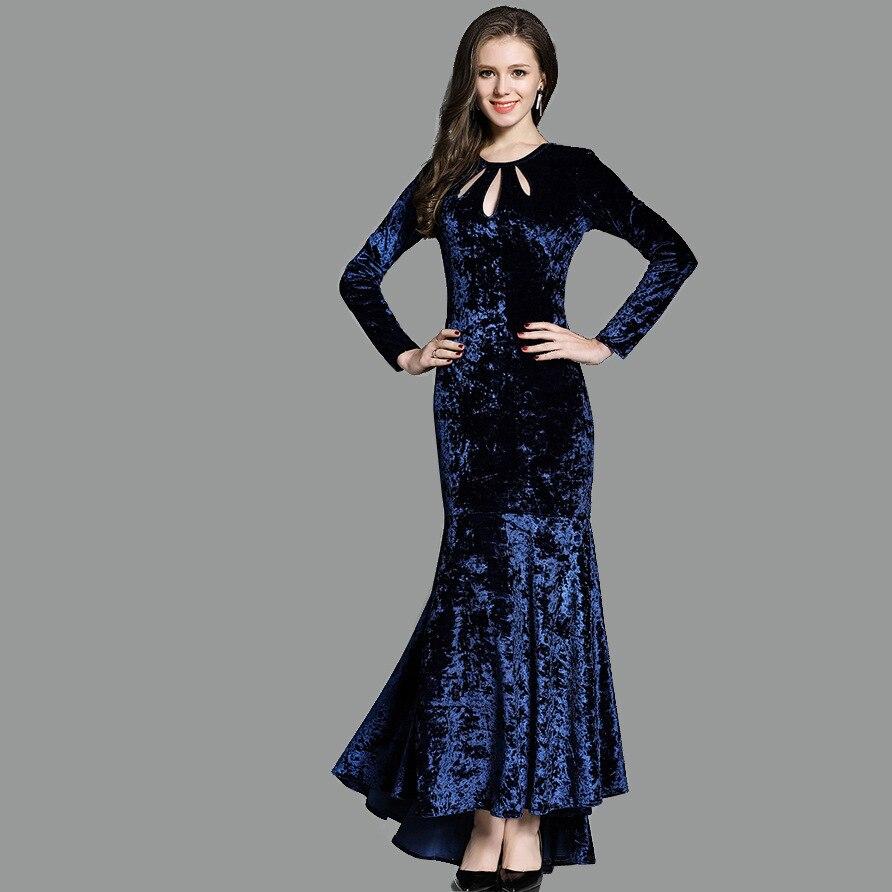 Осень и зима Длинные вечерние платья высокое качество бархатный с длинными рукавами вечернее платье-Русалка выдалбливают декольте халат de ...