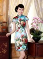 Shanghai Story Top-grade cheongsam Silk chinese traditional dress vestidos de fiesta peony print cheongsam dress Z002X