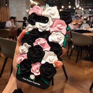Image 5 - Étuis pour iPhone X 8 7 6 6 s Plus étui belle 3D Rose fleur dos couvre Coque pour iPhone 7 avec sangle