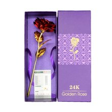 24k Gold Plated Rose With Love Holder Box Gift Valentine's Day Mother's Day Gift Flower Gold Dipped Rose US Drop ship(China)
