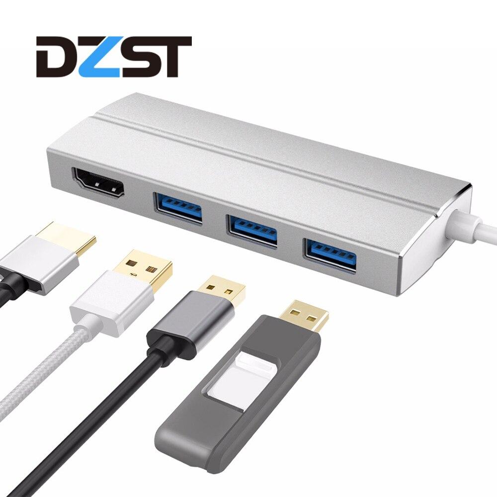 DZLST USB Typ C Hub zu HDMI/USB 3.0 ports Alle in einem USB C 3,1 Hub adapter 3840*2160 @ 30 hz für MacBook Pro 2015/2016 Chromebook