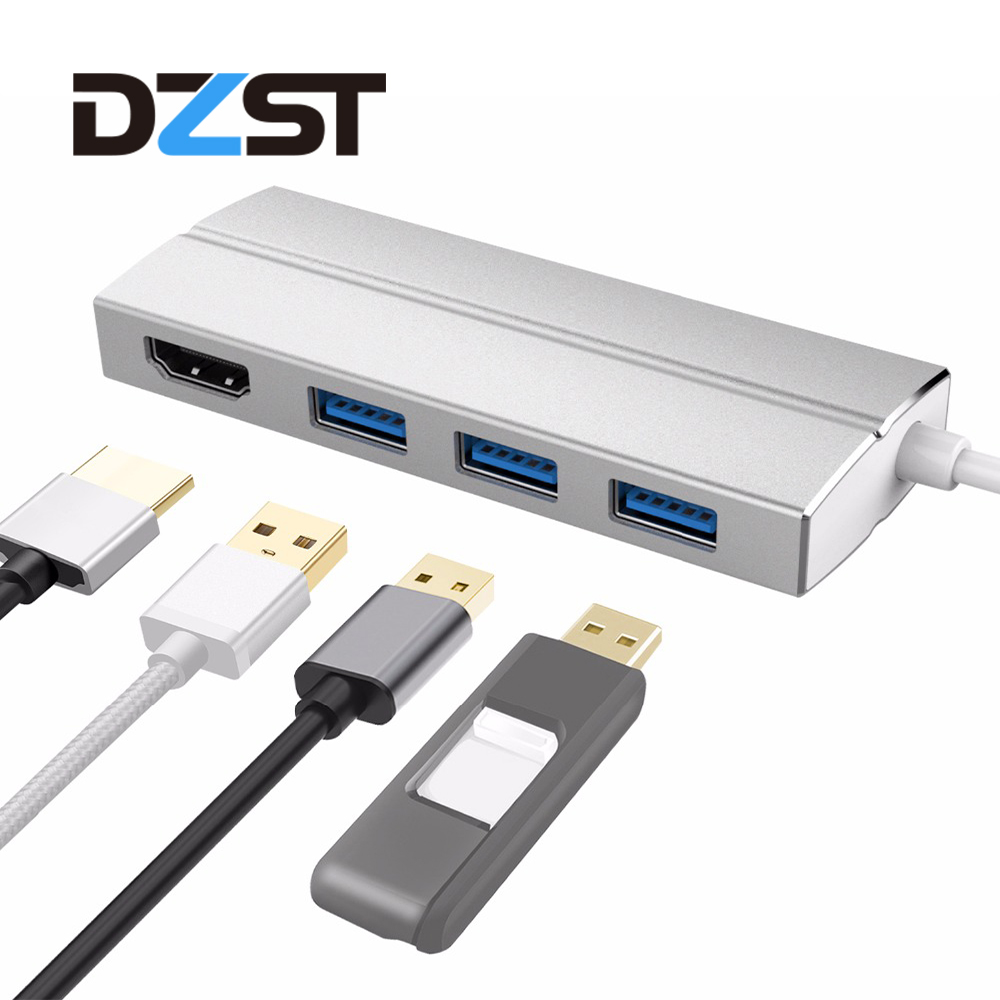DZLST USB Type C Hub to HDMI/USB 3.0 ports All in one USB C 3.1 Hub adapter 3840*2160@30HZ for MacBook Pro 2015/2016 Chromebook