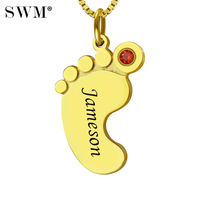 Women's Personalized Baby Feet Necklace Custom Kids Name Birthstone Pendant Gold Chain Mom Necklaces Collier Ras Du Cou Collana