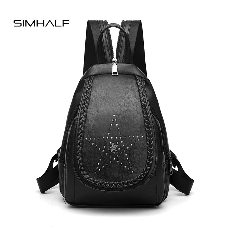 SIMHALF High quality Fashion Women Backpack Good Quality School Bags Backpacks For Girls Rivet Leather Backpack