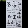 Marinero anclas Pintado arte etiqueta de Pulsera flash del tatuaje negro tatuaje temporal tatuajes gran falsa India pasa