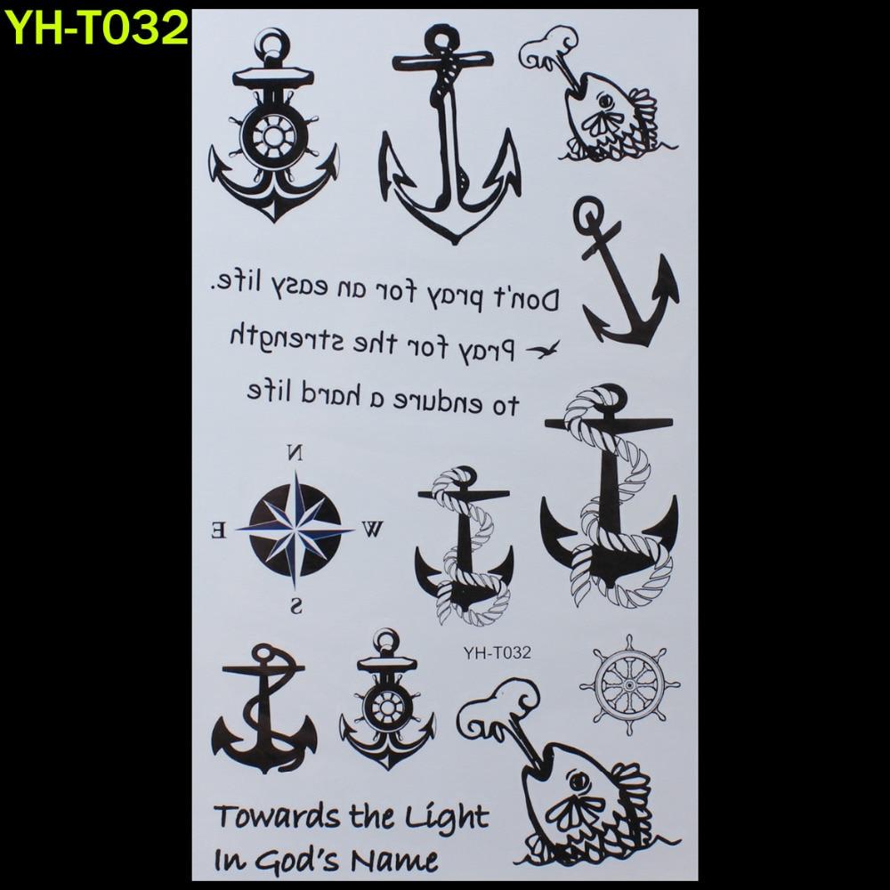 Sailor anchors Painted body art sticker Bracelet tattoo black tattoo flash tattoos large fake India spends temporary tattoo