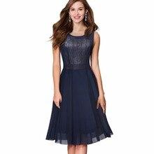 Women Elegant Sleeveless Party Dress Vintage Rockabilly Pinup Mesh Swing Summer A-line Dress Vestidos EA031