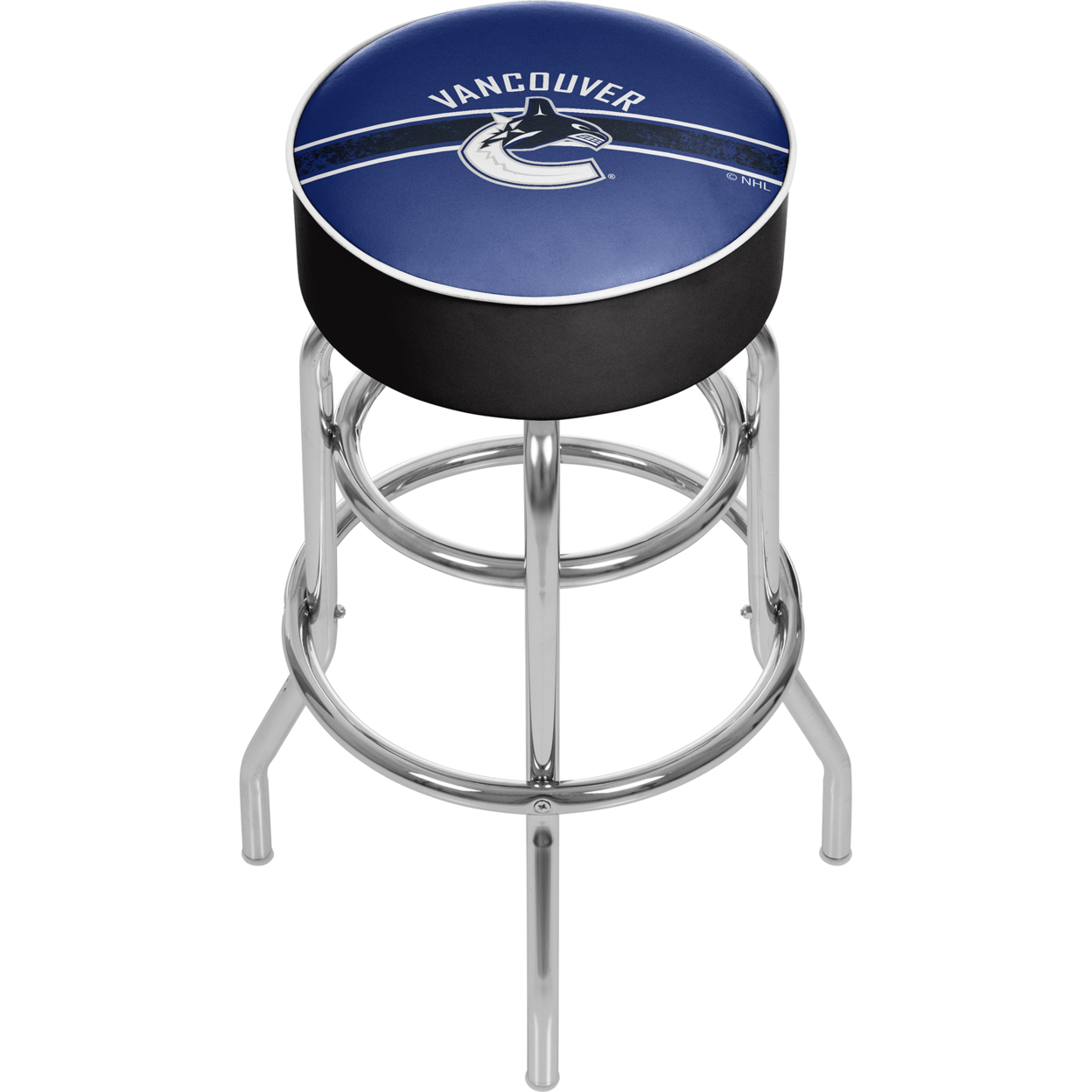 NHL Chrome Padded Swivel Bar Stool 30 Inches High - Vancouver Canucks
