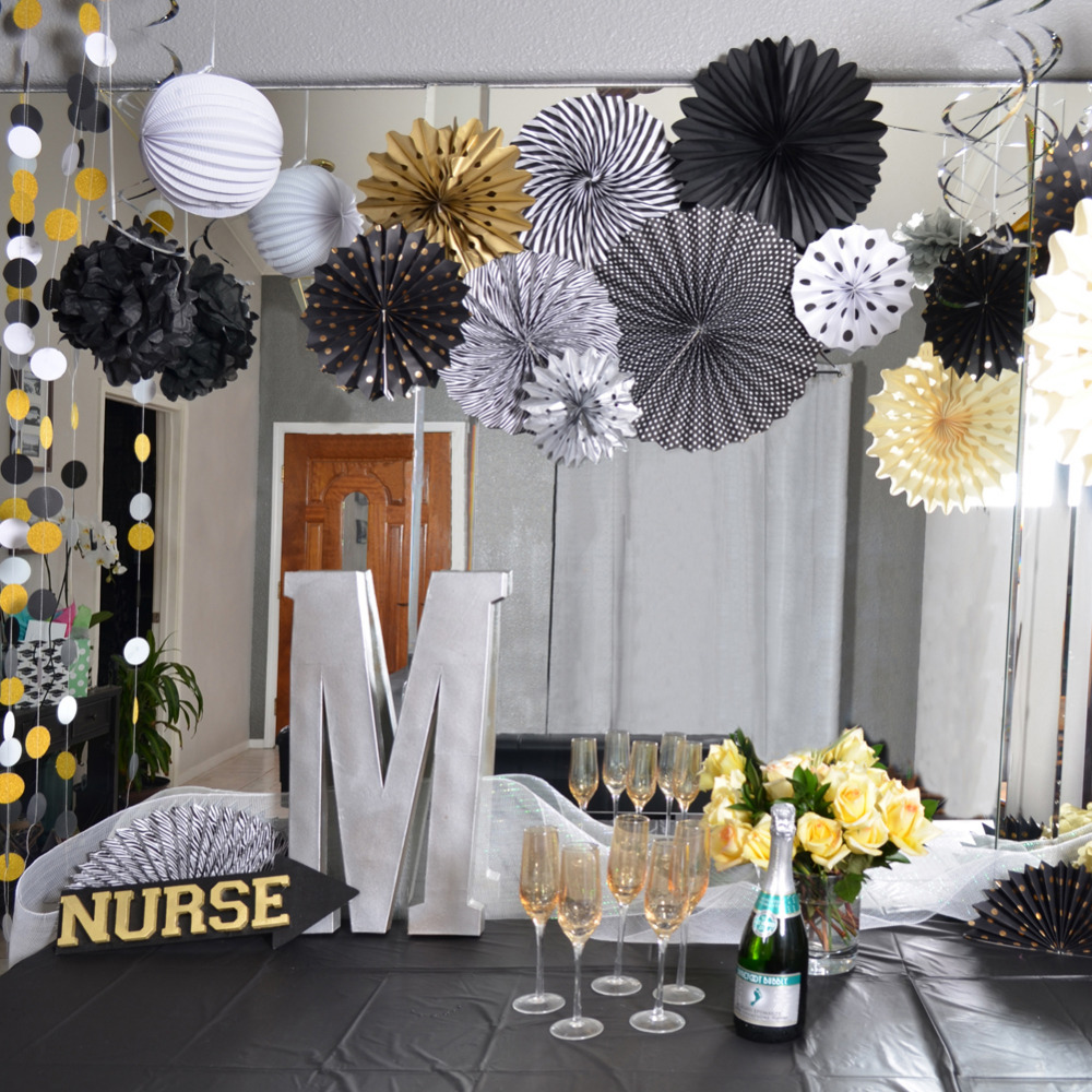 Pack Of 22 Graduation Party Decor Set Paper Fan Rosettes Pleated Paper Lanterns Foil Swirls