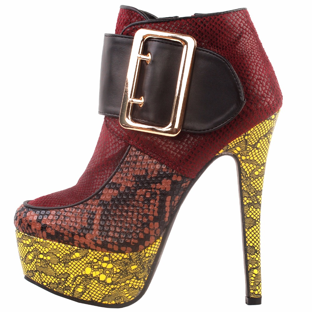 Lf80861 Stiletto Bootie Animal Spectacle forme Histoire Plate Boucle Bottes Red print Punk Cheville 8SfvUrW8R