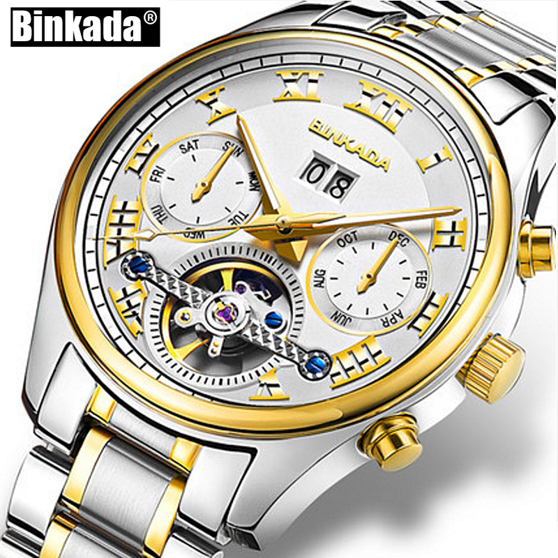 Original Luxury BINKADA Brand Men Self-wind Waterproof Day Date Month Automatic Mechanical Male Fashion Tourbillon watch kinyued brand men self wind waterproof stainless steel strap automatic mechanical male black dial fashion tourbillon watch