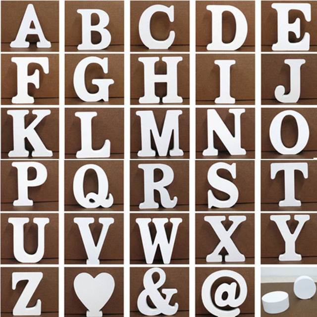 Us 099 Aliexpresscom Buy 1pcs Home Decor White Wooden Letter 26 Wood English Alphabet Letters Home Wedding Party Decoration Number Diy