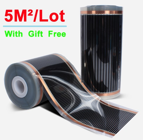50CM*10M AC220V Far Infrared Floor Heating Film 5 Square Meter Electric Heating Films 220W/Sq Meter Buy With Clamps Gift Free
