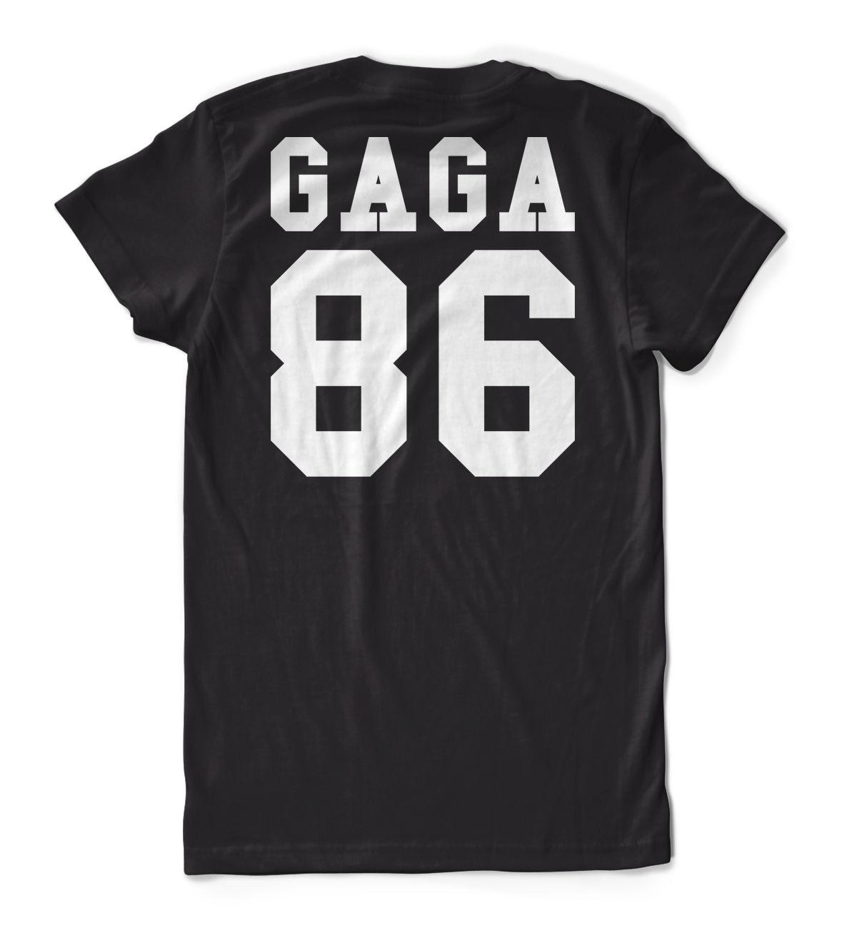 Gaga 86 T-Shirt Black Backprint Lady Pokerface Trikot Basketballer RUckennummer