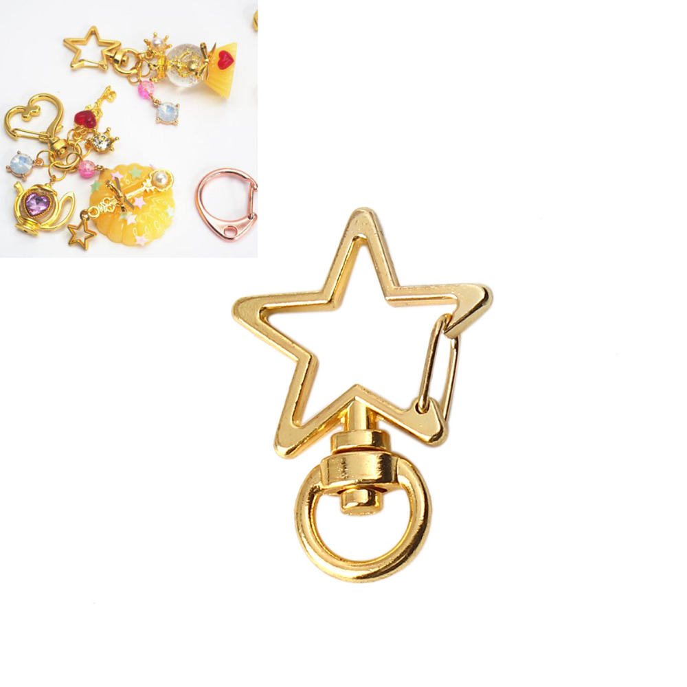 DoreenBeads Zinc Based Alloy Keychain & Keyring Pentagram Star Gold Rose Gold Accessories DIY 35mm(1 3/8