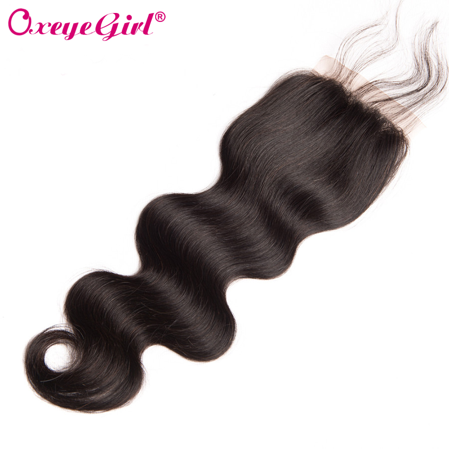 Peruvian Body Wave Lace Closure Med Baby Hair Free / Middle / Three - Menneskehår (sort) - Foto 1
