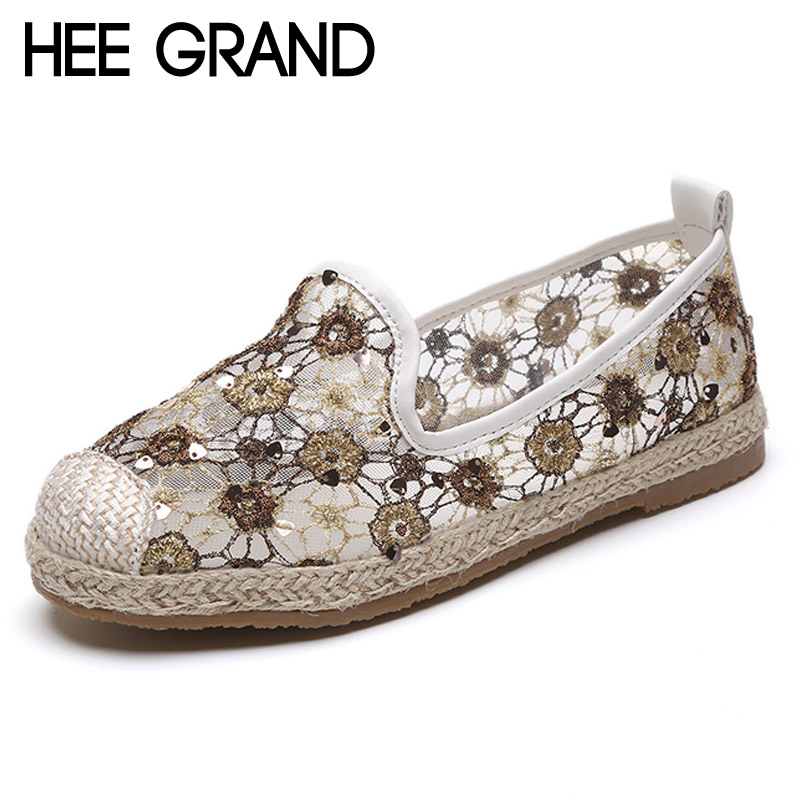 HEE GRAND Gold Silver Loafers 2017 Glitters Mesh Fisherman Shoes Woman Straw Slip On Casual Flats Platform Women Shoes XWD5764 phyanic 2017 gladiator sandals gold silver shoes woman summer platform wedges glitters creepers casual women shoes phy3323