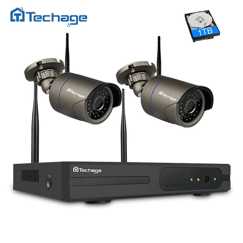 Techage HD 720 p 1080 p 4CH Wifi CCTV Système Sans Fil NVR Kit 2 pcs Intérieure Extérieure de Sécurité IP Caméra vidéo Surveillance Système Ensemble