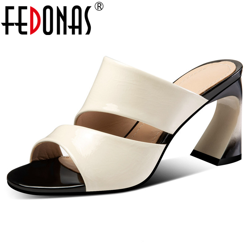 FEDONAS Summer Casual Sandals For Women Quality PU Leather Concise Sandals Hoof Heels Pumps Solid Color Elegant Rome Shoes Woman
