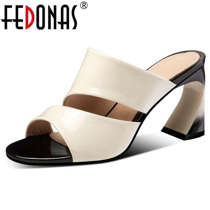 860fcf7c75e5f1 Fedonas Talons Couleur Cuir Pompes Apricot Qualité Sandales Sabot D'été  Décontractées Pour Femmes Solide Rome Femme noir Chaussures ...