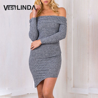 Autumn Winter Casual Knitted Off Shoulder Sexy Bodycon Dress Women Long Sleeve Dresses Party Evening Short