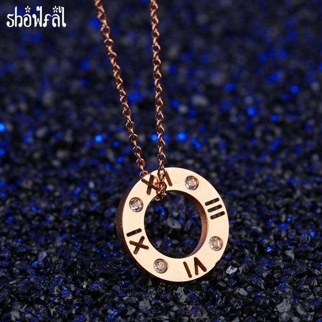 c3b53fa5ea8b Moda Bulgaria joyería Acero inoxidable COLLAR COLGANTE círculo los números  romanos de oro rosa Collares para