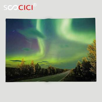 Custom Soft Fleece Throw Blanket Northern Lights Highway Road Nordic Rays of Sky Surreal Sun Atmosphere Image Blue Lime and Fern