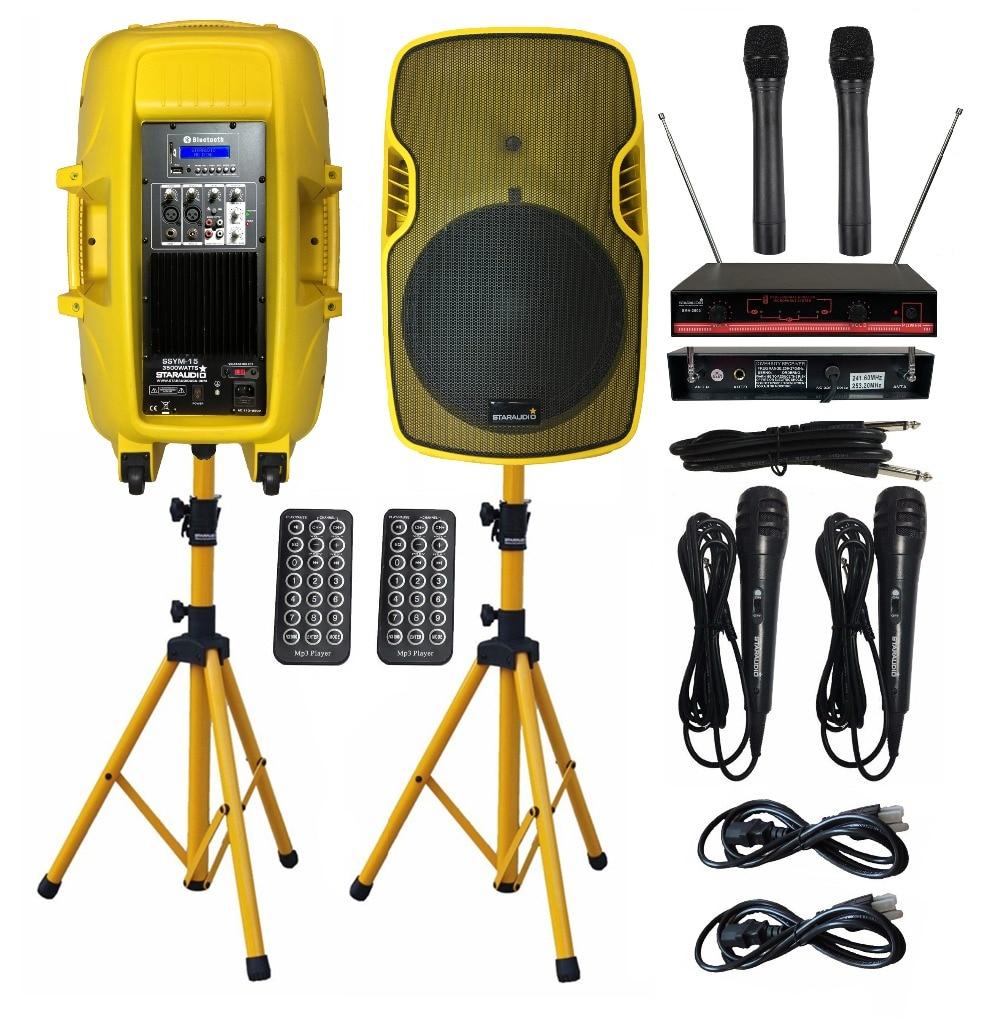 STARAUDIO 2 шт. 3500 Вт 15 Вечерние активные колонки s PA DJ power стойки для динамиков проводной микрофон 2CH VHF беспроводной карманный микрофон SSYM 15