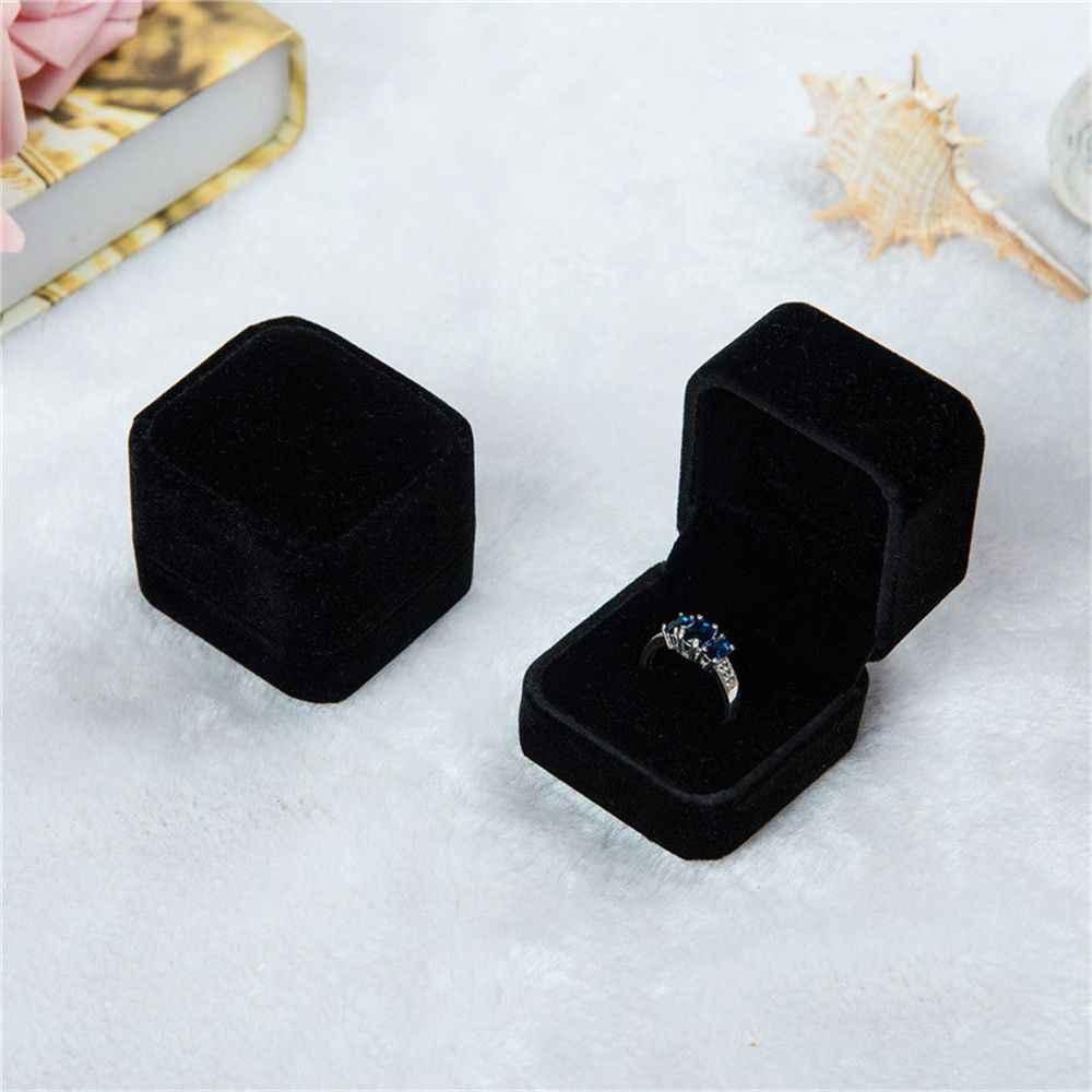 1 قطعة Squre الزفاف المخملية أقراط الطوق صندوق صندوق عرض مجوهرات حامل علب الهدايا منظم مذهلة