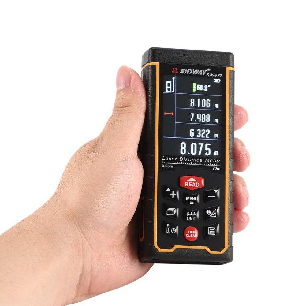 SNDWAY SW-S70 70M Handheld Laser Distance Meter Range Finder Trena Laser Tape Measure Distance Tool Rangefinder sw p70 sndway handheld laser distance meter 0 02 70m golf range finder