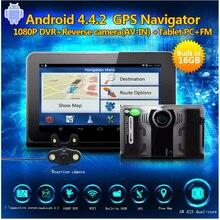 TOP SALE 7″ Car gps Android navigation with radar detector dvr camera 1080P Dual lens rear view camera Radar Detector Free map