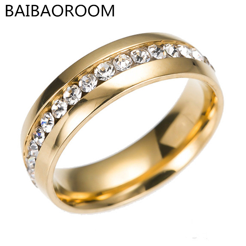 Fashion Single Row CZ Crystal Ring Stainless Steel High Grade Rings For Women Jewelry Gift