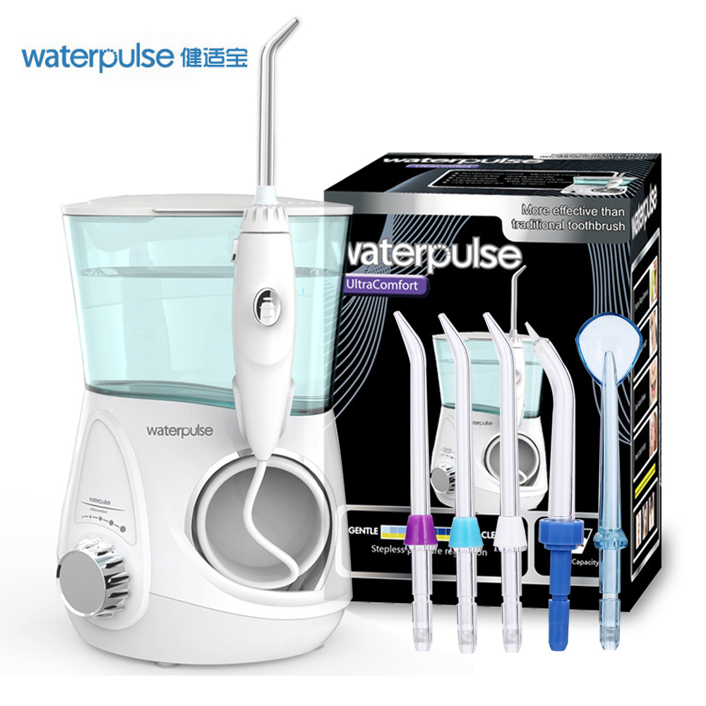Waterpulse V600 Dental Care Rechargeable Water Pick Teeth Cleaning Oral Irrigator Dental Water Jet Flosser With 5pcs Jet Tips waterpulse 5pcs replacement oral irrigator jet tips teeth gum cleaner standard nozzle dental flosser replacement tip