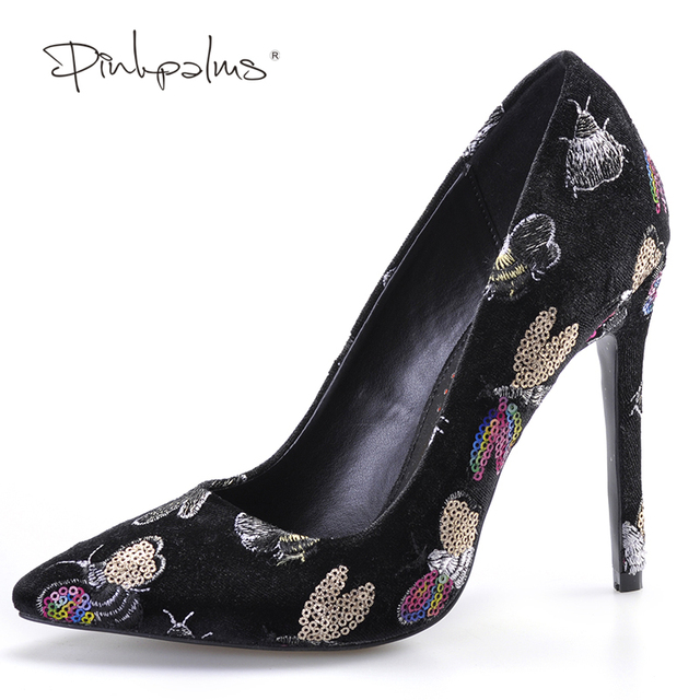 Pink Palms summer autumn new arrival women high heels shoes embroider black pointed toe party wedding dress pumps