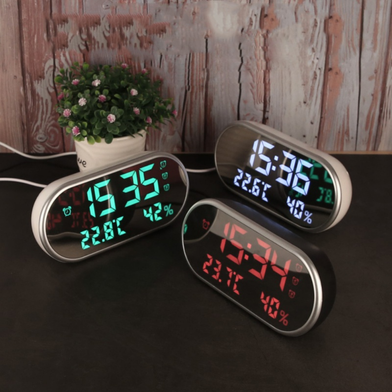2018 New Multi-Function High-Definition LED Thermometer And Hygrometer Mirror Alarm Clock # White Light Gift For Children 5.24