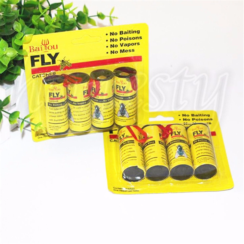 8 Rolls Insect Bug Fly Glue Paper Catcher Trap Ribbon Tape Strip Sticky Flies