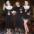 2016 Высокое качество Черный классический Священник Костюмы Взрослых Jesus Virgin Mary пастор нун косплей партия производительность Хэллоуин одежды