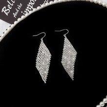 Korean Earrings Hot Sale Super Flash crystal Geometry Statement for Women Long Earring Fashion Trend Nightclub Foreign
