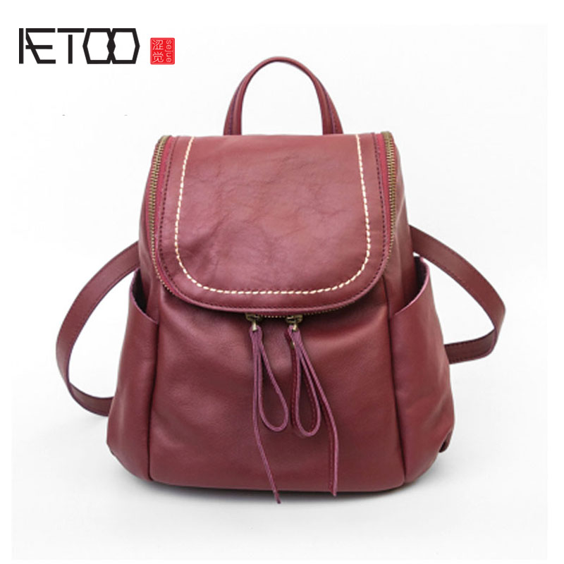 AETOO Import the first layer of leather shoulder bag autumn and winter fashion simple wild ladies bag backpack aetoo first layer of leather shoulder bag female bag korean version of the school wind simple wild casual elephant pattern durab