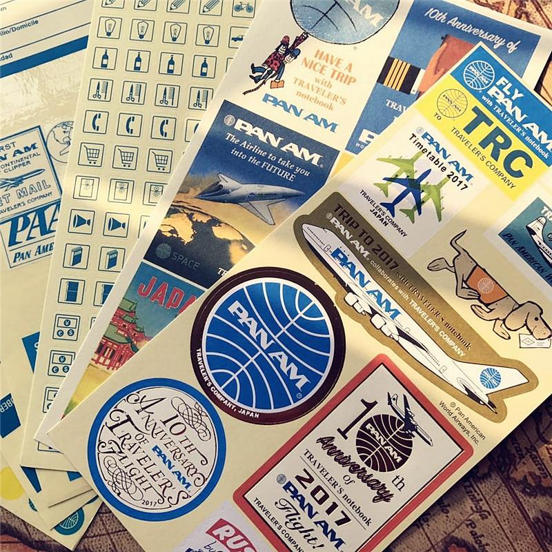 Jamie Note Printed Stickers Blue American Airlines Decorative Stickers For Midori Travelers Notebook Label Vintage Retro Sticker midori