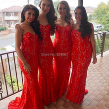 Red Lace Mermaid Bridesmaid Dresses 2017 Long-Party-Dress Sweetheart Wedding Guest Brides Maid Gowns vestido madrinha