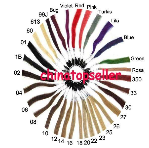 100% Human Hair Colour Ring Colour Chart  for Weft Nail tip Stick tip Micro loop Hair Extensions 32 Colours/set