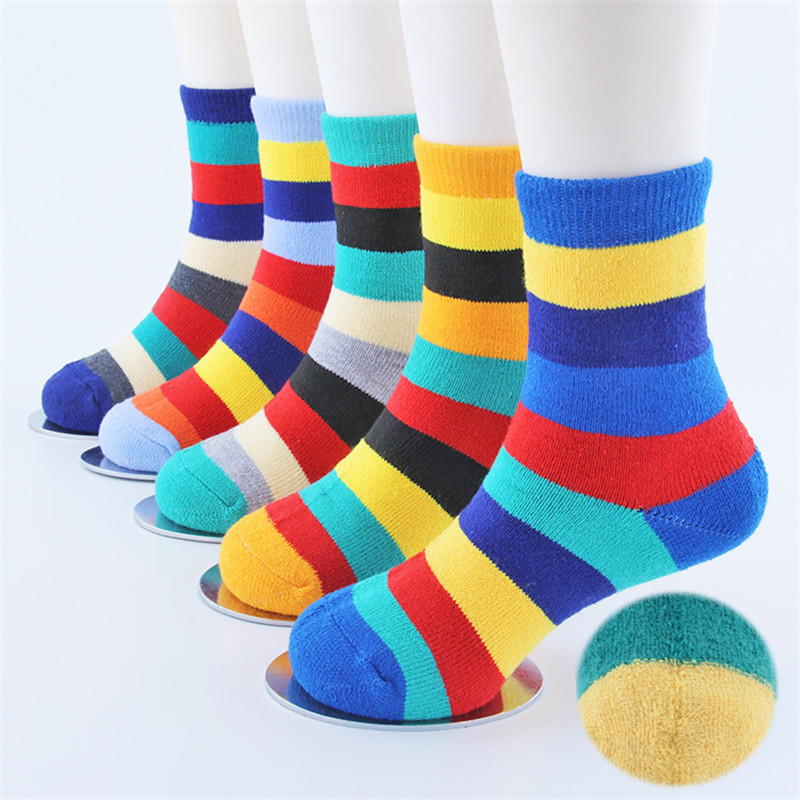 socks Rainbow childrens terry Autumn and winter cotton  thick warm 10 pairs