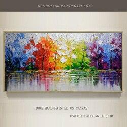 Venta al por mayor de pintura al óleo de árboles abstractos de alta calidad sobre lienzo hecho a mano hermosos colores paisaje abstracto árboles pinturas al óleo