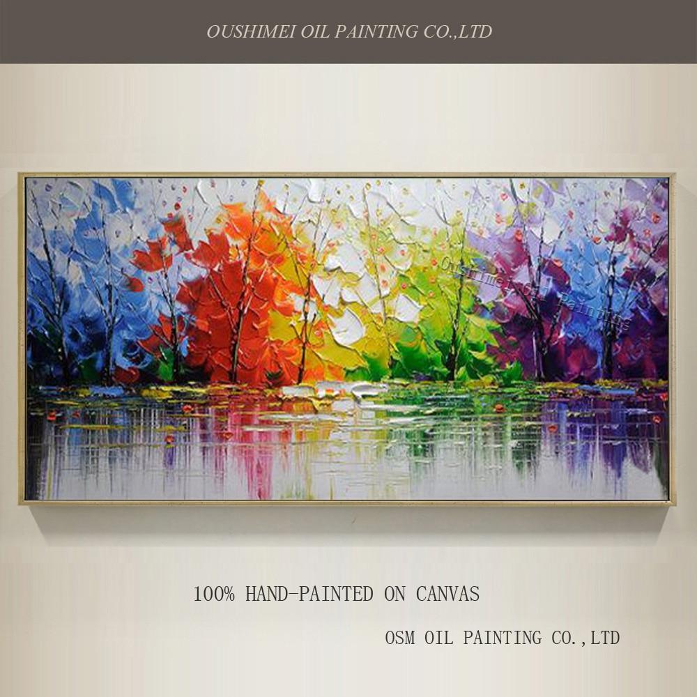 Aukštos kokybės abstrakčių medžių aliejaus tapyba ant drobės rankų darbo gražios spalvos abstrakčiai kraštovaizdžio medžiai naftos tapyba