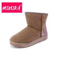 MINIKA Fashion Sequin Ankle Boots Women Slip On Durable Winter Shoes Women Warm Plush Snow Boots